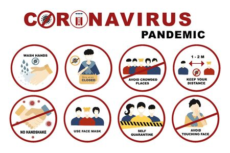 Illustration pour Coronavirus, covid-19 sign set No handshake and wash hands, Self quarantine and avoid crowded places, use face mask and  keep distance concept. Signs with people on the subject coronavirus - image libre de droit