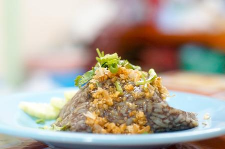 thai boil rice with pork Khao Kan Jin