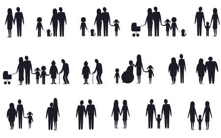 Illustration pour A set of silhouettes of various family types. Vector isolated image on a white background. - image libre de droit