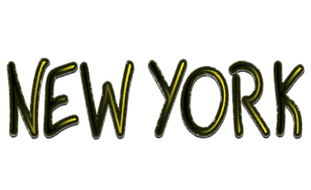 New York text vector illustration on white background.