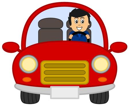 Illustration pour red car with man in a suit - image libre de droit