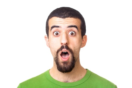 Young Surprised Man Portrait on White