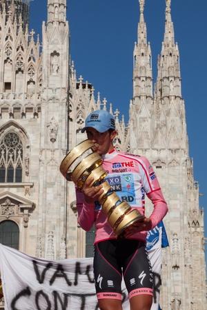 MILANO, ITALY - MAY 29: Alberto Contador with Pink Jersey wins the Giro d'Italia of 2011 on May 29, 2011 in Milano, Italy