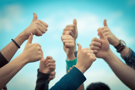 Photo for College Students with Thumbs Up - Royalty Free Image