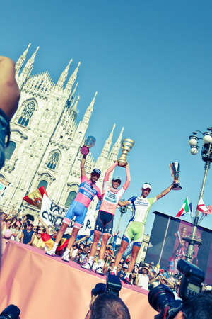 MILANO, ITALY - MAY 29: Cyclists Contador, Scarponi and Nibali on the Podium of 2011 Giro d'Italia, on May 29, 2011 in Milano, Italy