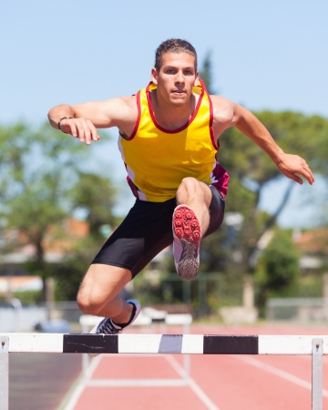 Male Track and Field Athlete during Obstacle Race