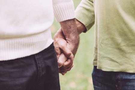 Photo pour Gay Couple Holding Hands at Park - image libre de droit