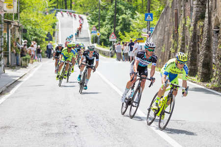 LA SPEZIA, ITALY - MAY 12, 2015: Team Saxo Tinkoff leading the group of cyclists during the 4th stage of Giro d'Italia