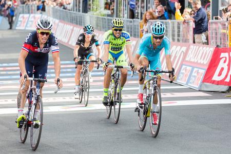 ABETONE, ITALY - MAY 13, 2015: Fabio Aru, Alberto Contador and Richie Porte at the end of the 5th stage of Giro d'Italia