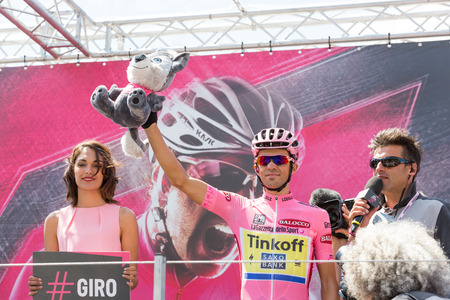 SAINT-VINCENT, ITALY - MAY 29, 2015: Alberto Contador, team Saxo Tinkoff, wearing pink jersey maglia rosa at the start of the 20th stage of Giro d'Italia