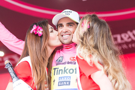 SESTRIERE, ITALY - MAY 30, 2015: Alberto Contador, team Saxo Tinkoff, wearing pink jersey maglia rosa at the end of the 20th stage of Giro d'Italia