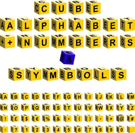 yellow cube alphabet + numbers