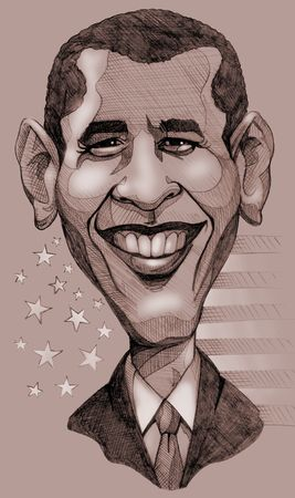 A pencil-drawn monochrome caricature of the President of United States, Barack Obama