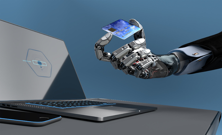 Closeup image of detailed cybernetic arm holding plastic card with electronic chip and laptop on background. Artificial intelligence manipulating objects. 3d illustration