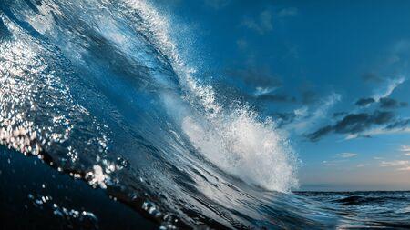 Photo pour The Most Beautuful barrel surfing wave, ocean water, aquatic sport media - image libre de droit