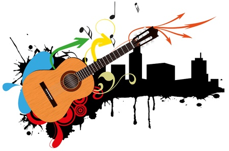 illustration of acoustic guitar with city skyline
