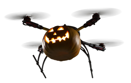 A flying drone decorated as Halloween pumpkin on white background.