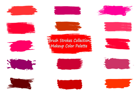 Illustration for Label brush strokes. Watercolor background. Textured elements. Grunge brush strokes set. Colorful liquid elements collection. Paint smudges. Red, pink, violet lipstick spots. Ink drawn label patch - Royalty Free Image