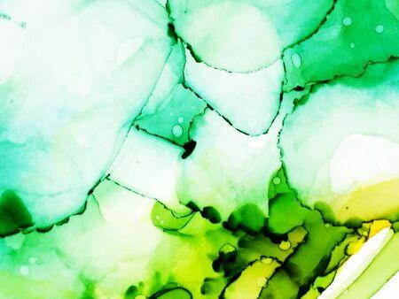 Foto de Alcohol Ink Artwork. Ink Paint Texture. Light Green Marble Slab Design. Grunge Wall  Image. Green Mint Alcohol Ink Art. Colorful Paint Texture. Spring Ink Print - Imagen libre de derechos