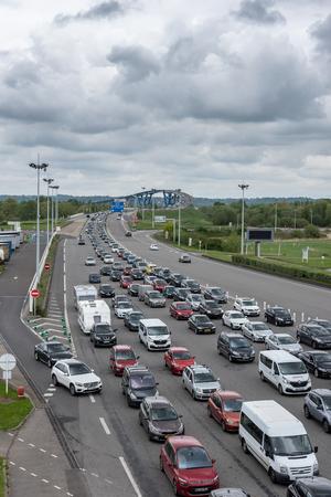 Bridge of Normandy, Le Havre, France - May  04, 2018 : Motorway traffic jam before the Normandy bridge