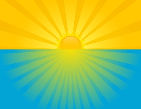 Sunset at sea on a summer sunny day. EPS 8 RGB with global colors vector illustration.
