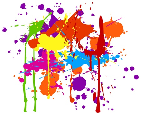 Multicolored ink splats on white background.