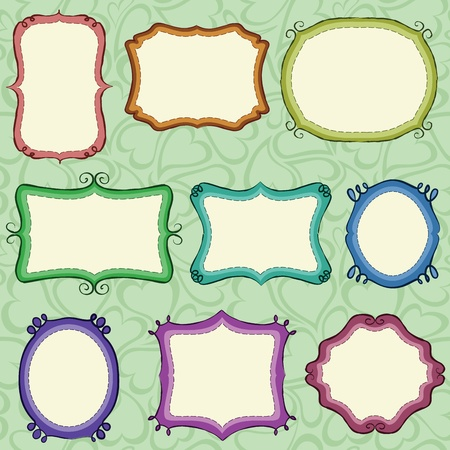 Hand drawn frames (background is a seamless pattern).