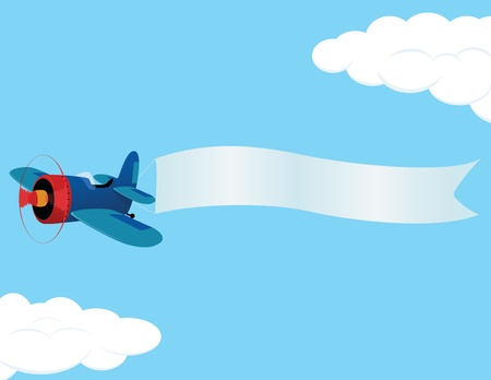 Illustration for Retro airplane with a banner. illustration. - Royalty Free Image