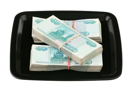 Russian currency on a tray