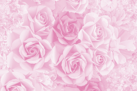 Photo for Beautiful decoration artificial paper rose flower background for valentine day or wedding card. - Royalty Free Image