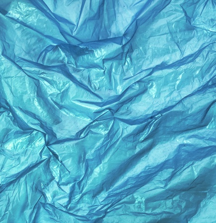 blue wrinkled plastic bag for background