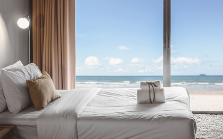 relaxation in bedroom with seaview
