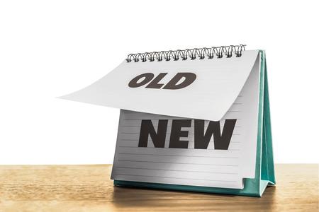 Photo pour old paper change to new paper calendar and white background - image libre de droit