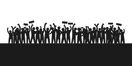 Illustration for the silhouette of the protesters raising their arms and holding a sign showing their claim. crowd people and solidarity campaign concept. - Royalty Free Image