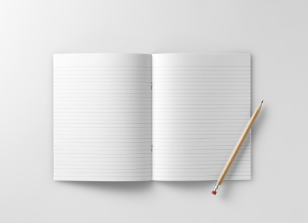 a blank school exercise notebook  book  jotter with pencil