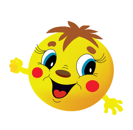 Yellow round head with a smile