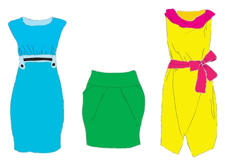 Samples of design of a dress and skirt.