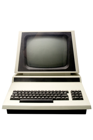 Retro computer isolated on a white background.
