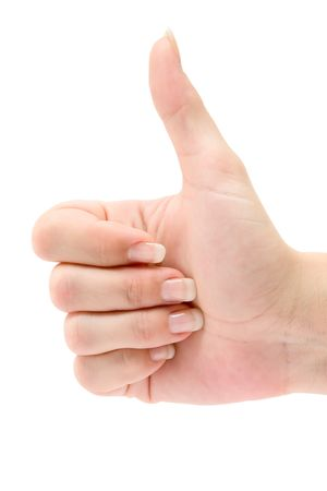 Thumbs up. Isolated on a white background.