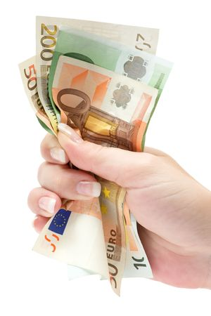 Holding a bunch of various Euro banknotes. Isolated on a white background.