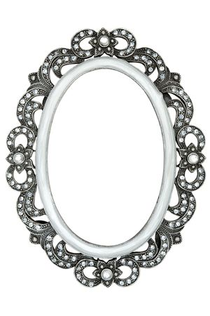 Photo pour Metal frame with tiny jewels. Isolated on a white background. - image libre de droit