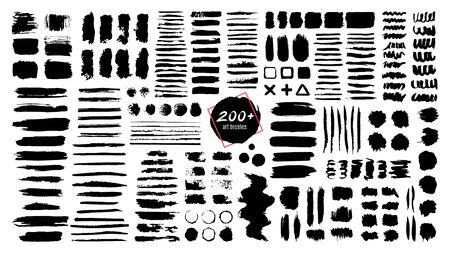 Illustration for Ink textured brush. Grunge strokes and dirty texture paint splatters. Artistic brush blots, frames and text boxes isolated vector set. Black swatches, stains and smears. Paintbrush, abstract traces - Royalty Free Image