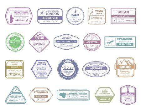 Ilustración de Vintage passport stamp. Airport cachet mark, passport visa international arrived stamps. USA, UK, France, Italy, Japan and Spain air boarder stamp frames vector isolated set. Travel airport signs - Imagen libre de derechos