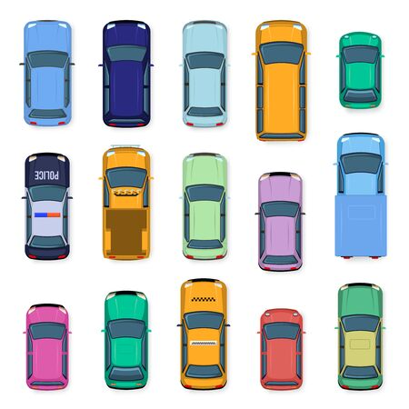Illustration pour City car top view. City traffic cars roof, street vehicle taxi, police, subcompact and car above view. Auto transport isolated vector illustration set. flat vehicles from above - image libre de droit
