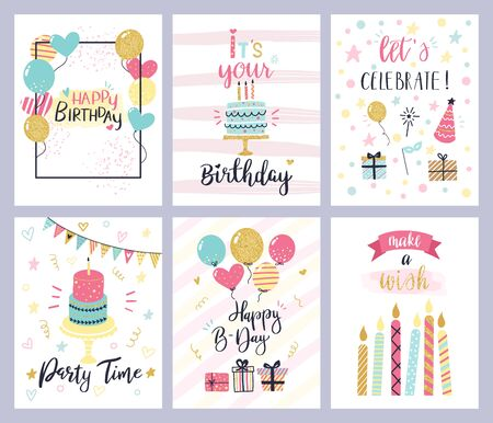 Illustration for Birthday party cards. happy birthday pastel celebration postcards, invitation with candle, golden balloons and confetti, cake. kids cheerful holiday flyers vector templates - Royalty Free Image