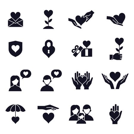 Illustration pour Love and heart icons. Love couple, family, children and romantic relationships signs, people lovers, care and fondness vector isolated symbols set. happy valentine day romantic pictograms - image libre de droit