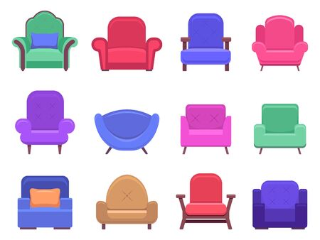 Illustration pour Armchair furniture. Armchair sofa, apartment interior comfortable furniture, modern cozy domestic chair vector isolated illustration icons set. Soft seat chair, seating furnish, armchair fashionable - image libre de droit