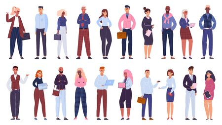 Illustration pour Multicultural business group. People office workers team, multinational business colleagues characters community isolated vector illustration set. Multicultural business team, businessman and women - image libre de droit