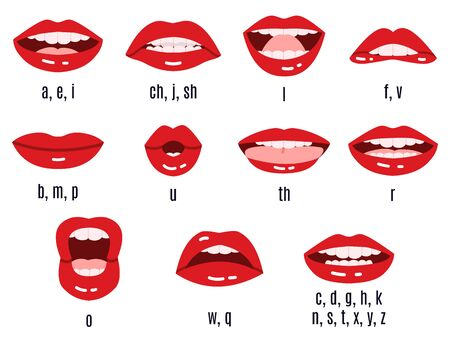 Illustration pour Mouth sound pronunciation. Lips phonemes animation, talking red lips expressions, mouth speech sync pronounce vector isolated symbol set. Mouth speech english, speak sound and talk illustration - image libre de droit