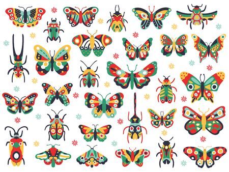 Illustration pour Hand drawn cute insects. Doodle flying butterfly and beetle, colorful spring insects. Drawing butterflies and bugs vector illustration icons set. Insect fauna colorful, wildlife spring animal - image libre de droit